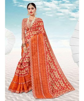Sangam Prints Orange & Red Kota Thread Work Traditional Saree