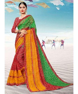 Sangam Prints Green & Yellow Kota Thread Work Traditional Saree