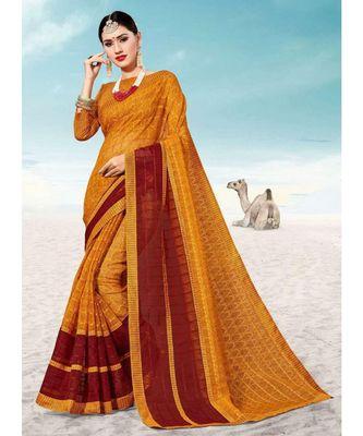 Sangam Prints Yellow Kota Thread Work Traditional Saree