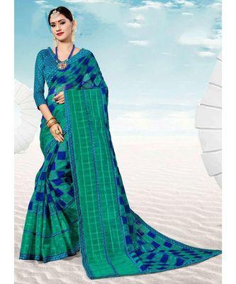 Sangam Prints Sky Blue Kota Thread Work Traditional Saree