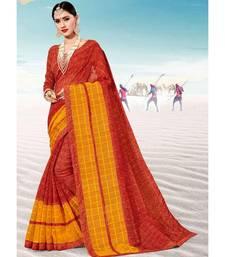 Sangam Prints Red Kota Thread Work Traditional Saree
