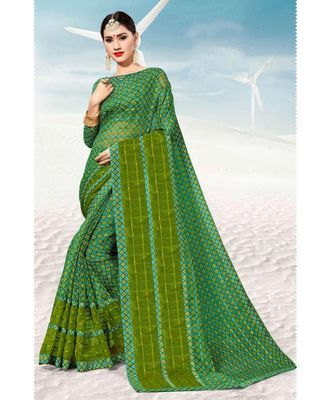 Sangam Prints Green Kota Thread Work Traditional Saree