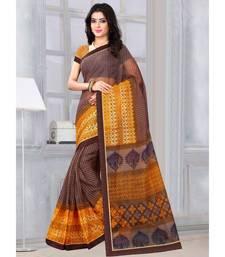 Sangam Prints Brown & Yellow Kota Printed Traditional Saree