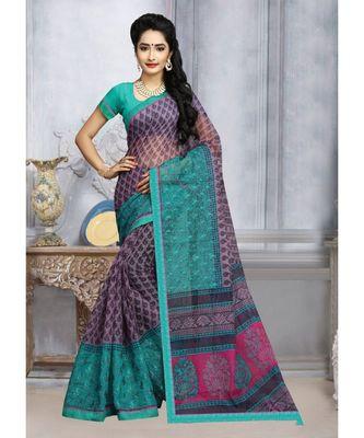 Sangam Prints Blue & Turquoise Kota Printed Traditional Saree