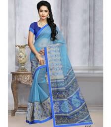 Sangam Prints Sky Blue Kota Printed Traditional Saree