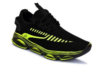 Weiler Men's Black Mesh Running Sport Shoes