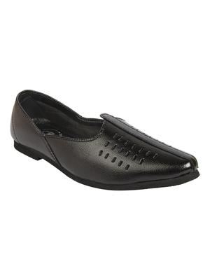 Vardhra Men's Black Genuine Leather Casual Mojaris/Jutti