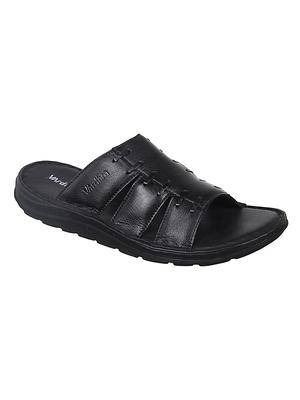 Vardhra Men's Black Genuine Leather Casual Slipper