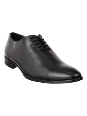 Vardhra Men's Black Genuine Leather Derby Formal Shoes
