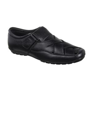 Vardhra Men's Black Genuine Leather Fisherman Casual Sandal