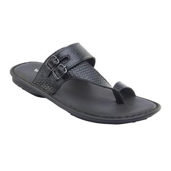 Vardhra Men's Black Genuine Leather Monk Casual Slipper