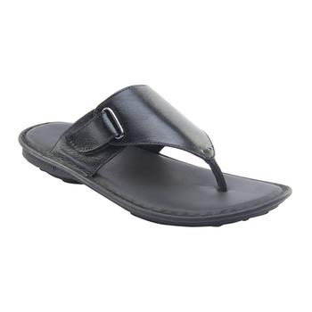 Vardhra Men's Black Genuine Leather V Shape memory Casual Slipper