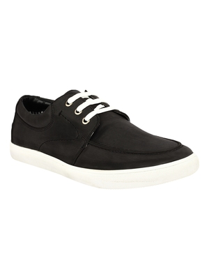 Vardhra Men's Black Synthetic Leather Casual Sneaker Casual Shoes
