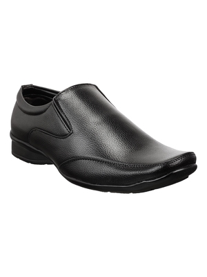 Vardhra Men's Black Synthetic Leather Party Slip On Formal Shoes