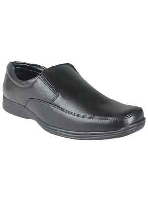 Vardhra Men's Black Synthetic Leather Slip On Formal Shoes