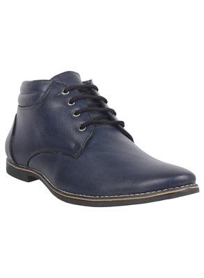 Vardhra Men's Blue Genuine Leather Outdoor Derby Formal Boot