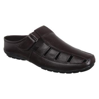 Vardhra Men's Brown Genuine Leather Back Open Fisherman Casual Sandal