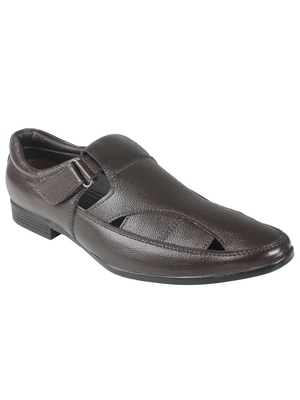 Vardhra Men's Brown Genuine Leather Fisherman Casual Sandal