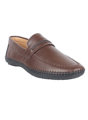 Vardhra Men's Brown Synthetic Leather Outdoor Casual Loafer