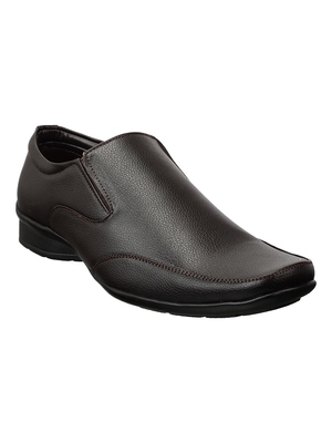 Vardhra Men's Brown Synthetic Leather Slip On Formal Shoes