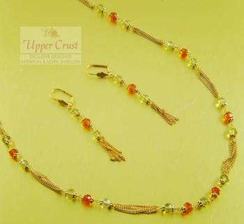 Gold plated Crystal beaded Chain necklace earring jewellery