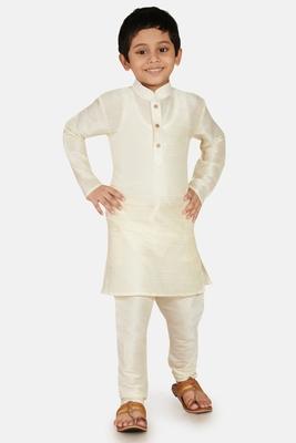 White plain cotton silk boys-kurta-pyjama
