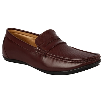 Vardhra Men's Cherry Synthetic Leather Party Outdoor Formal Loafer