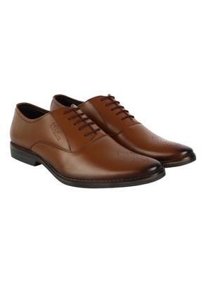 Vardhra Men's Dark Tan Genuine Leather Brogue Formal Shoes