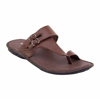 Vardhra Men's Tan Genuine Leather Monk Casual Slipper