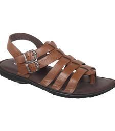Vardhra Men's Tan Genuine Leather Outdoor Casual Sandal