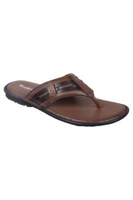 Vardhra Men's Tan Genuine Leather V Shape memory Casual Slipper