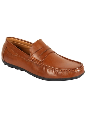Vardhra Men's Tan Synthetic Leather Casual Loafer