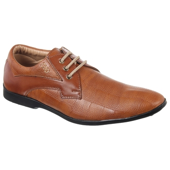 Vardhra Men's TAN Synthetic Leather Party Derby Formal Shoes