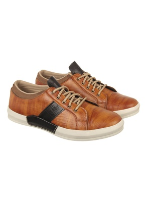 Vardhra Men's Tan Synthetic Leather Party Outdoor Casual Shoes