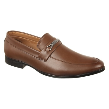 Vardhra Men's Tan Synthetic Leather Party Outdoor Formal Loafer