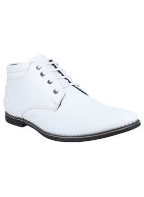 Vardhra Men's White Genuine Leather Outdoor Derby Formal Boot