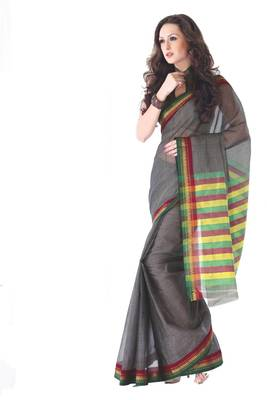 ISHIN Cotton Dark Grey Sarees Kanchana