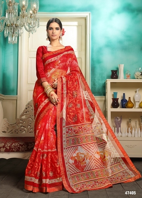 Red embroidered cotton saree with blouse