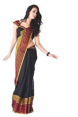 ISHIN Cotton Black Sarees Khajana