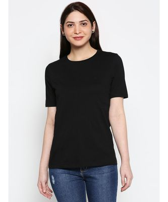 AMMARZO WOMENS BASIC CREW NECK BLACK  TEE A03