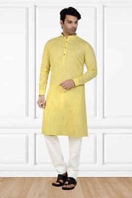 Yellow printed cotton kurta-pajama