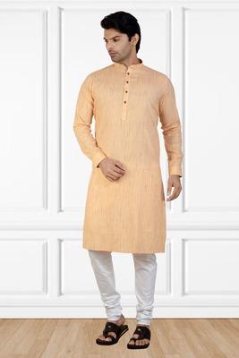 Orange printed cotton kurta-pajama