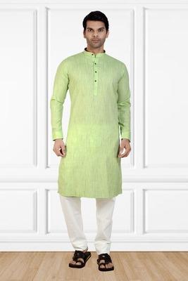 Green printed cotton kurta-pajama