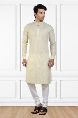 White printed cotton kurta-pajama