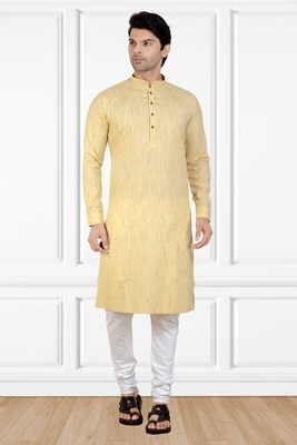 Beige printed cotton kurta-pajama