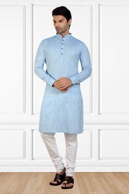Blue printed cotton kurta-pajama