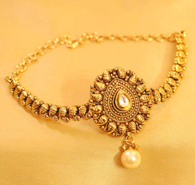 Buy Antique Gold Look Paisley Pearl Bajuband Online