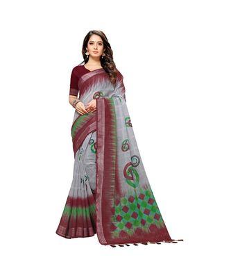 Grey coloured fancy linen material silk saree with weaved zari border