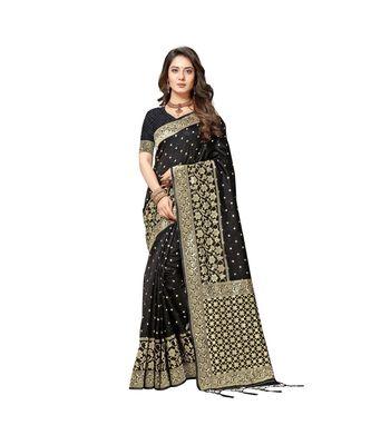 Black coloured  powerloom weaved banarasi silk saree