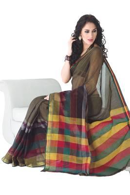 ISHIN Cotton Light Brown Sarees Mahima Mercerise